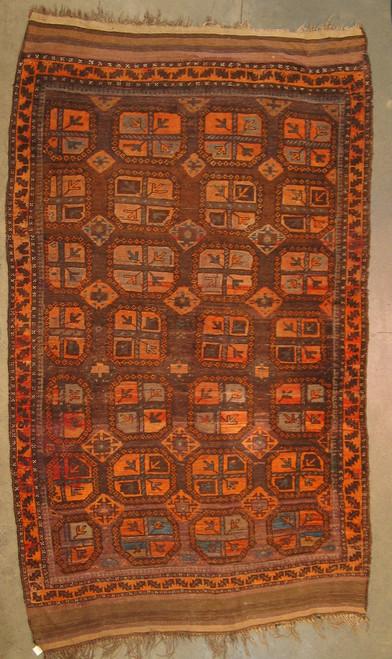 4'11 X 8.3 Old Baluchistan rug