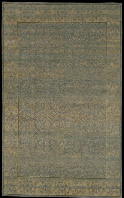 "5' X 8'1"" 100 Blue Green Transitional design rug"