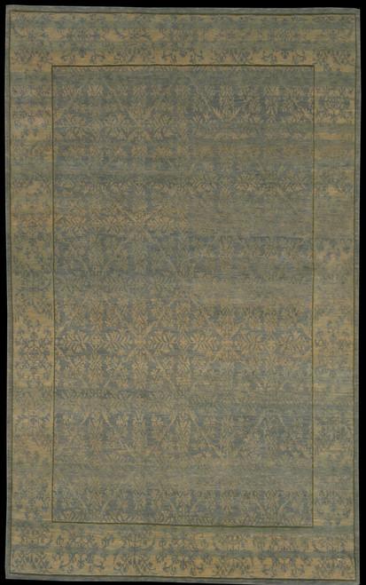 "5' X 8'1"" 100 Blue Green Transitional design rug"