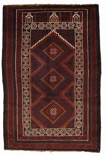 Baluch design rug hand-made in Afghanistan