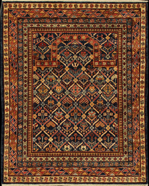 Caucasian design rugs with prayer rug motif