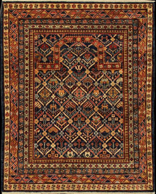 Caucasian design rugs with prayer rug motif