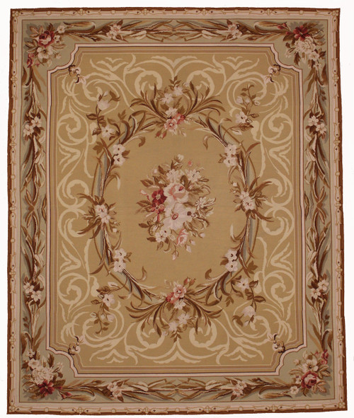 Needlepoint Aubusson design 7'11 x 9'8 rug