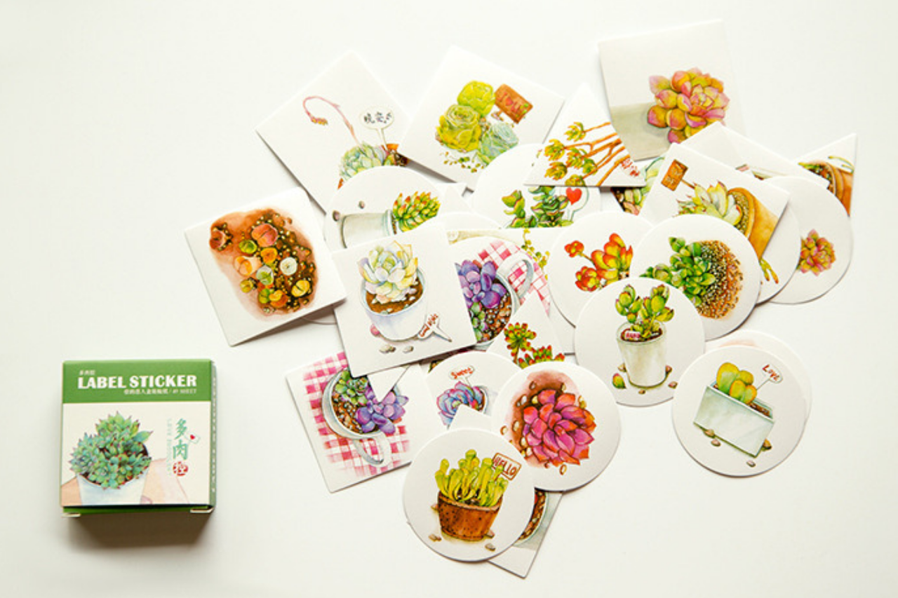 Kawaii Succulent Stickers 40 Pcs Scrapalicious Delight