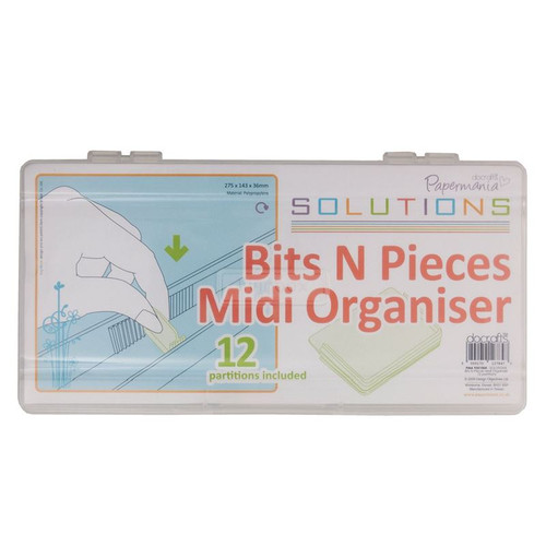 Docrafts Papermania- Bits N Pieces Midi Organiser With 12 Partitions (Clear)