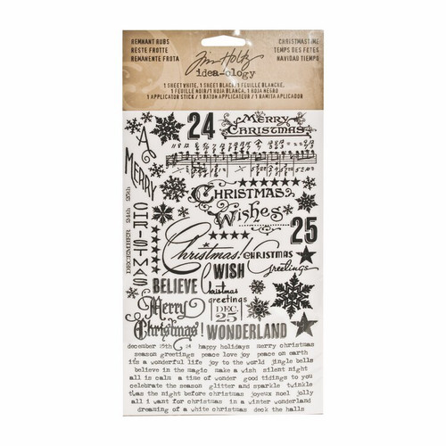 Tim Holtz Idea-ology Remnant Rubs - Christmas Time (Black & White )