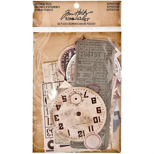 Ephemera pack - Expedition-  63 Pack  - Tim Holtz - Idea-ology Collection