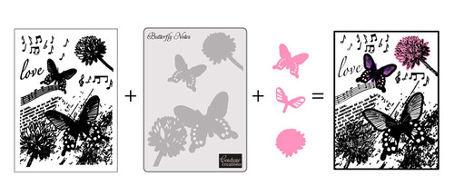 Couture Creations Stamping, Embossing & Die Cutting 3 in 1 Set - Dream Boat Collection - Butterfly Notes