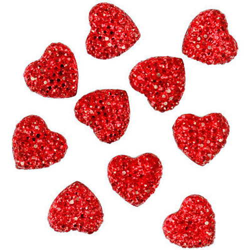 Sparkling ruby red heart embellishments