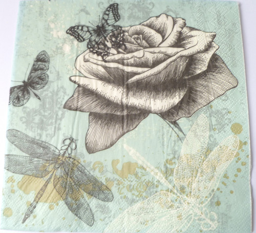 Paper Collage Napkins: Roses & Insects