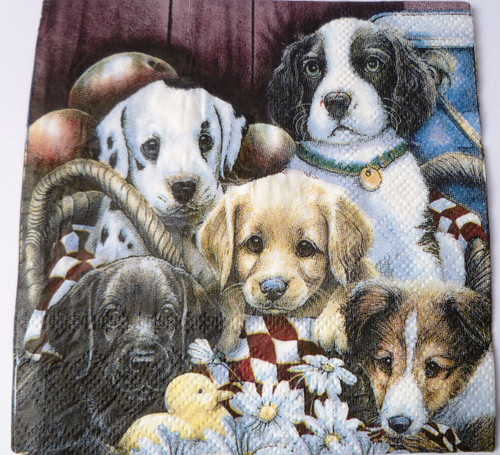 Paper Collage Napkins: Puppies