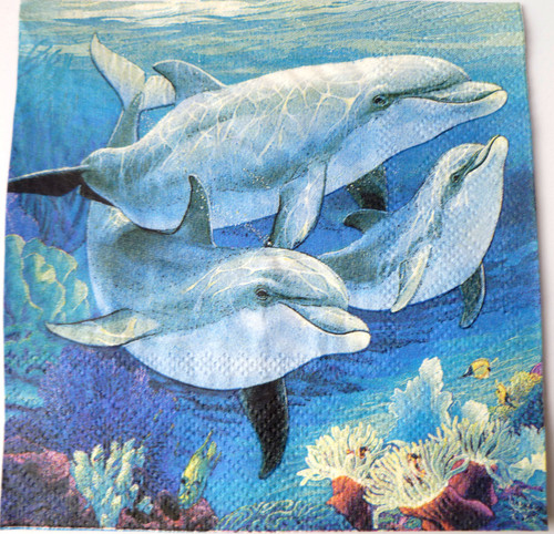 Paper Collage Napkins: Dolphins