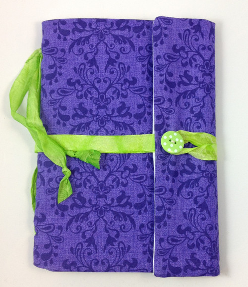 Fabric Art Journal: Purple Damask front view