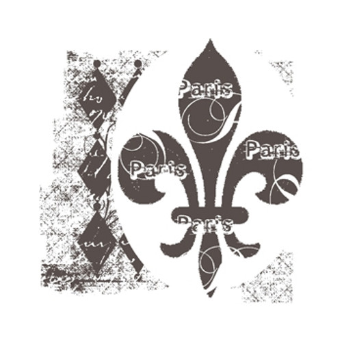 Fleur de lis self cling red rubber stamp.