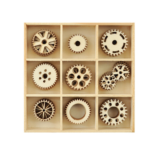 Laser cut wood shapes,assorted cog design. (Approximately: 2mm ply wood)