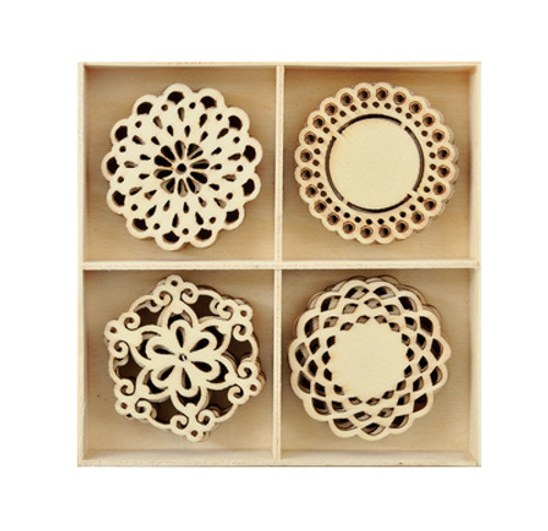 Laser cut wood shapes, assorted laser cut Doilies 20pcs.  (Approximately: 2mm ply wood)