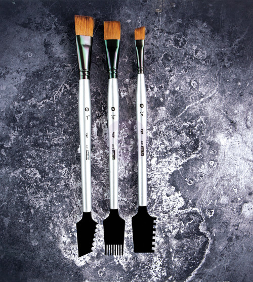 Prima- Finnabair Art Basics: Double-Sided Texture Brushes Set 1 - 3 pcs (SD963873)
