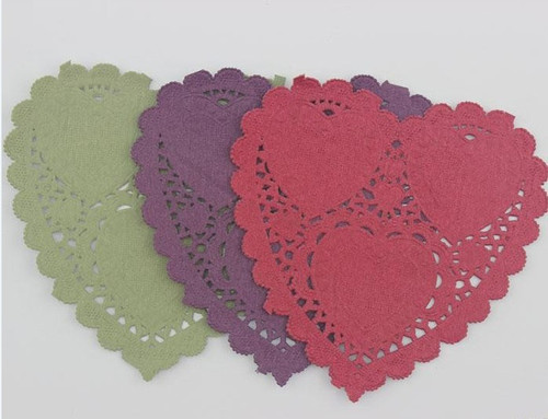 "4"" Heart Paper Lace Doily- Red, Aubergine & Olive (6 pack) (SDLPDCH02)"