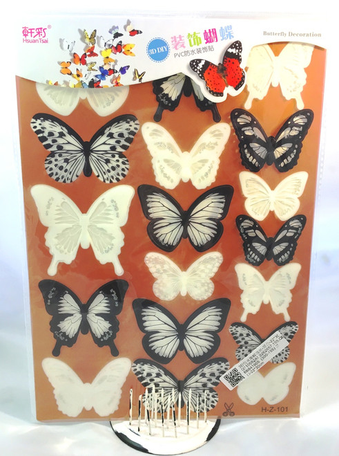 3D Acetate Butterflies Stickers- Black & White (18pc) (SD3DB152851)