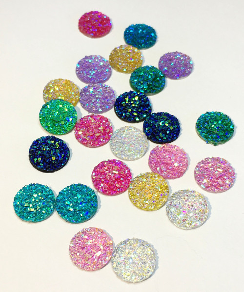 12mm Round Druzy Resin Gems