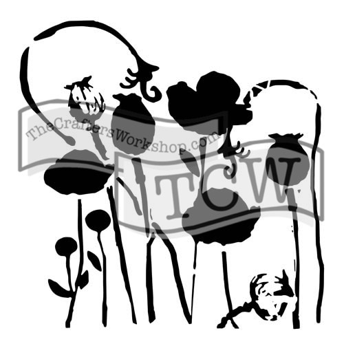 The Crafters Workshop 6x6 Stencil - Mini Poppy Garden (SDTCW628S)