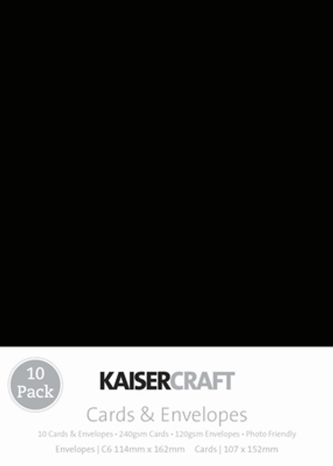 Kaisercraft Card & Envelopes pk C6 - Black (SDCD510)