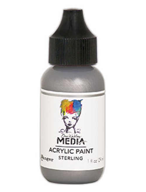 Ranger/ Dina Wakley Media Metallic Heavy Body Acrylic Paint 29ml (1 fl.oz)- Sterling (SDMDQ54153)
