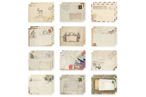 Mini  Vintage Paper  Envelopes  (12 pcs)
