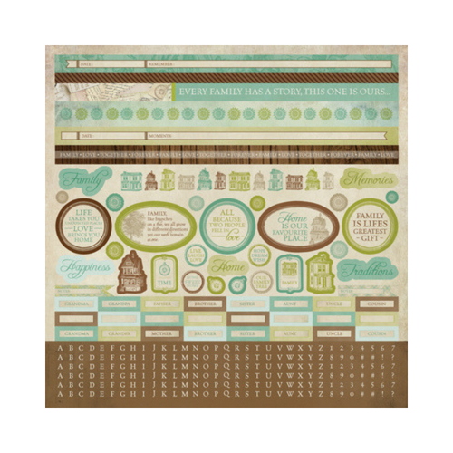 Kaisercraft 12x12 Sticker Sheet│Heirloom Collection