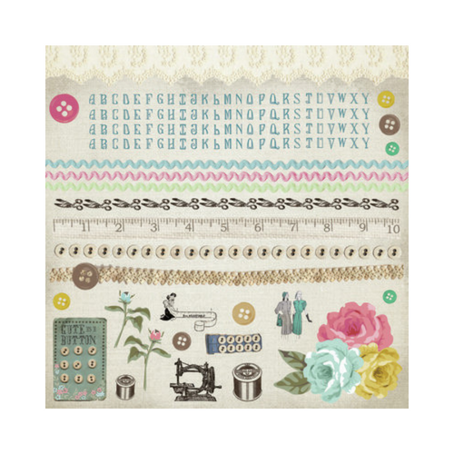 Kaisercraft 12x12 Sticker Sheet│Needle & Thread Collection