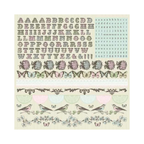 Kaisercraft 12x12 Sticker Sheet│Bonjour- Alpha Collection