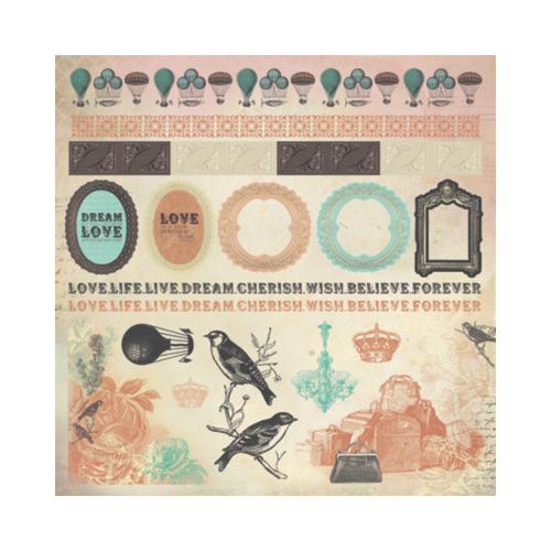 Kaisercraft 12x12 Sticker Sheet│Periwinkle - Frames Collection
