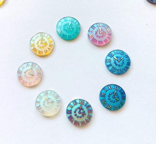 14mm Round Clock Face Resin Flatback Rhinestone│40pc Mixed Pack