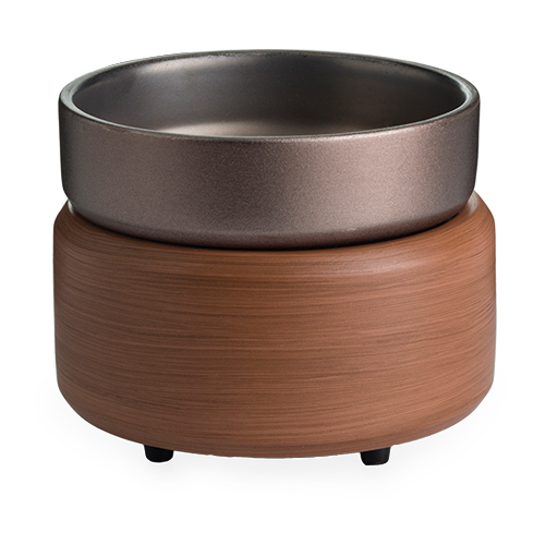 Pewter Walnut Candle Warmer and Dish