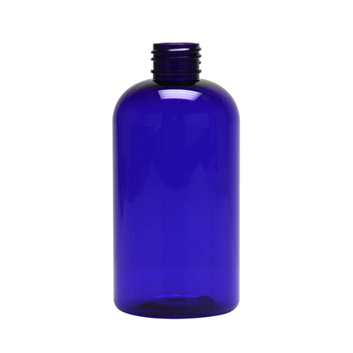 PET Boston Round Bottle - Cobalt Blue - 8 oz.