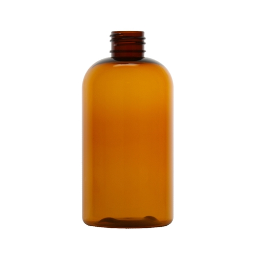 PET Boston Round Bottle - Amber - 8 oz.