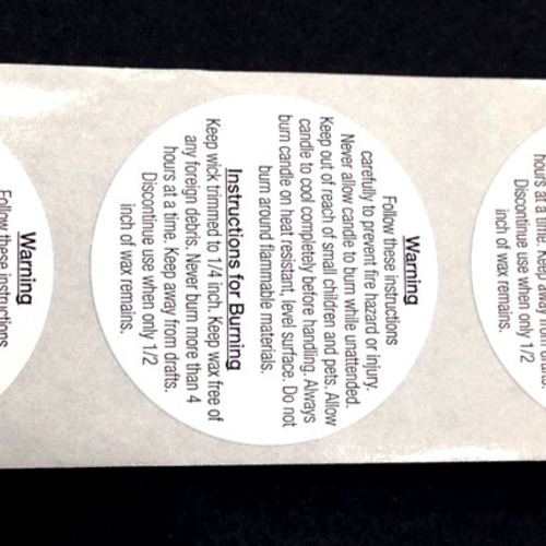 Candle Warning Labels - Small