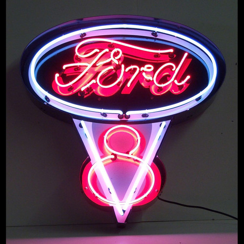FORD V8 NEON SIGN IN METAL CAN