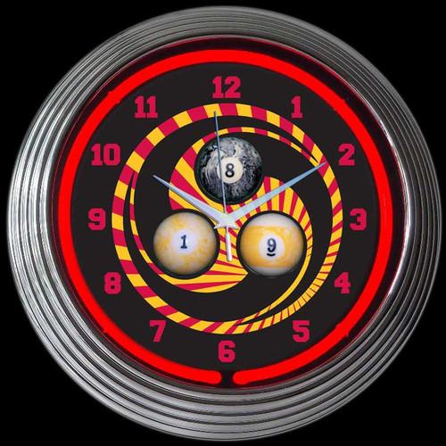 BILLIARDS 1, 8, 9 NEON CLOCK