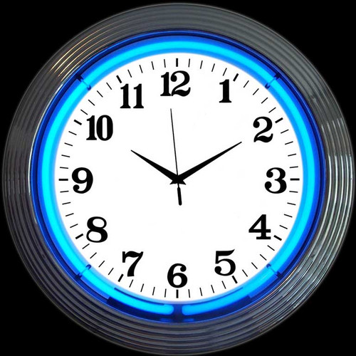 CHROME BLUE STANDARD NEON CLOCK