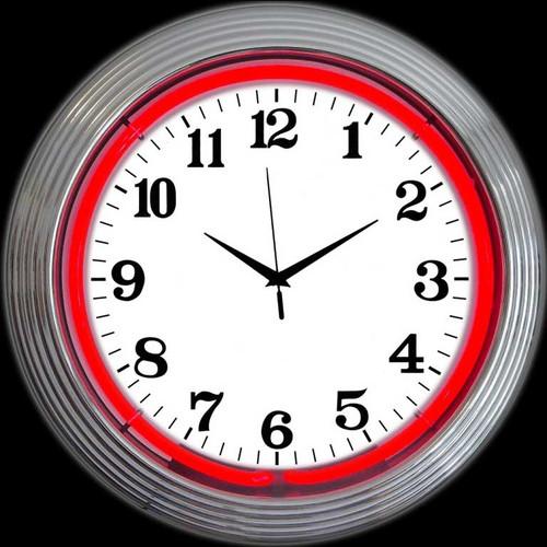 CHROME RED STANDARD NEON CLOCK