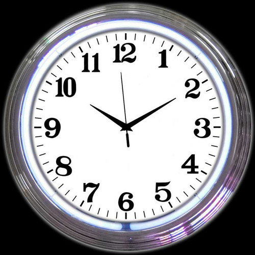 CHROME WHITE STANDARD NEON CLOCK