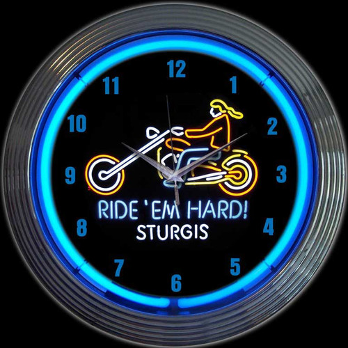 MOTORCYCLE RIDE EM HARD STURGIS NEON CLOCK