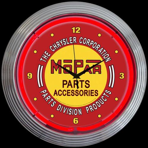 MOPAR RED VINTAGE NEON CLOCK