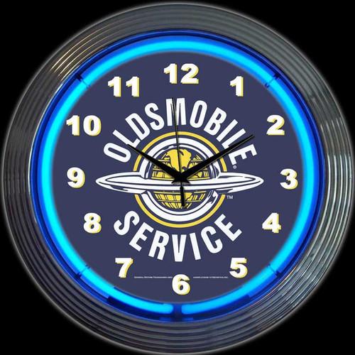 GM OLDSMOBILE SERVICE NEON CLOCK