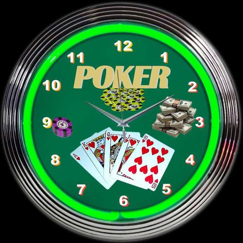 POKER GREEN NEON CLOCK