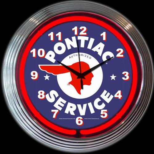 GM PONTIAC SERVICE NEON CLOCK