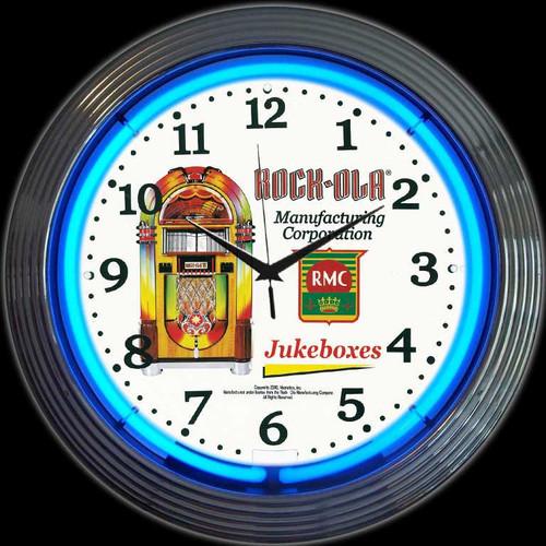 ROCK-OLA JUKEBOX NEON CLOCK