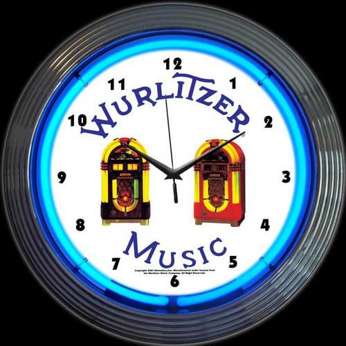 WURLITZER JUKEBOX NEON CLOCK