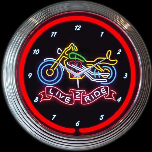 LIVE 2 RIDE NEON CLOCK